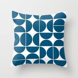 Mid Century Modern Geometric 04 Blue Throw Pillow