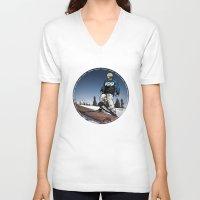 ski V-neck T-shirts featuring ski park by Patrick Draper
