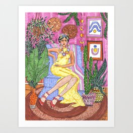 Me and my plants - Frida collection - Art Print