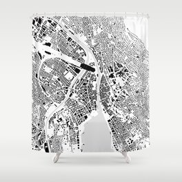 Zurich building city map Shower Curtain
