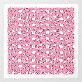 Flying Books Pink Art Print