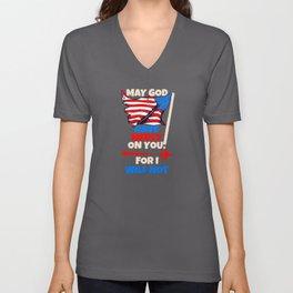 USA Flag Pride Army God Mercy USAF Soldier Gift Unisex V-Neck