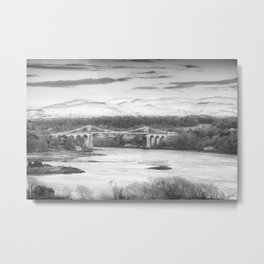 Menai Bridge Winter B&W Metal Print