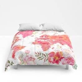 Floral world map with cities in hot pink watercolor Comforters