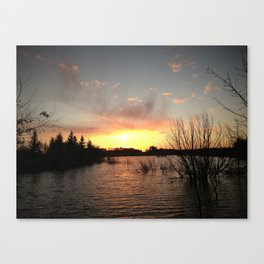 Sunset Over the Pond Canvas Print