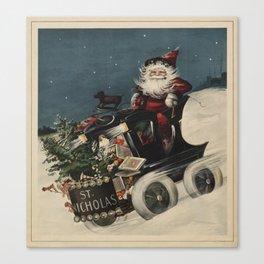 Vintage Santa Claus in a Motorized Sleigh (1920) Canvas Print