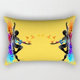 Ballet dancer dancing with flying birds Rectangular Pillow