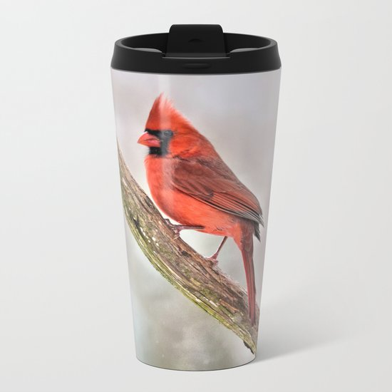 Simplicity: Northern Cardinal Metal Travel Mug