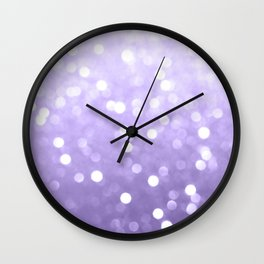 Ultra violet purple sparkly bokeh Wall Clock