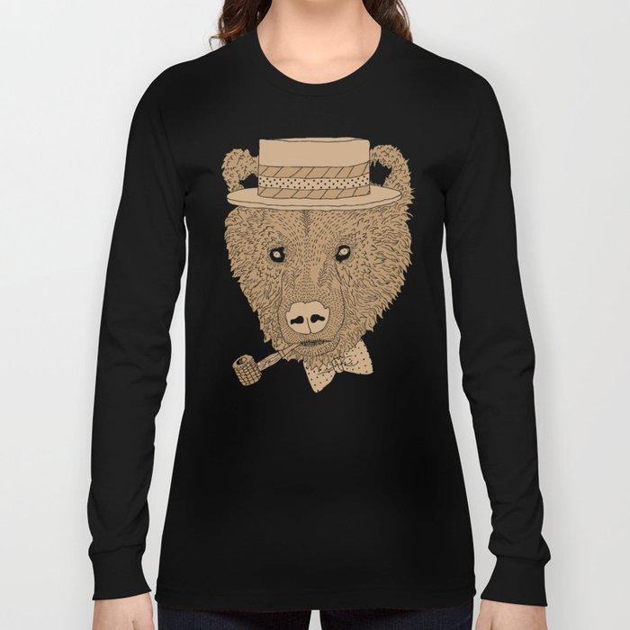 Barber Shop Bear Long Sleeve T-shirt