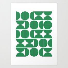 Mid Century Modern Geometric 04 Green Art Print