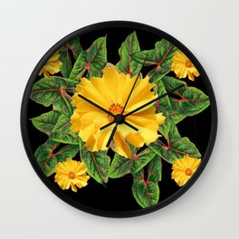 BLACK & YELLOW COREOPSIS   FLORAL ART DESIGN Wall Clock
