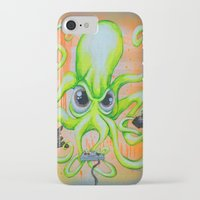 video game iPhone & iPod Cases featuring Video Game Playing Octopus by Bili Kribbs