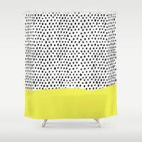 polka dot Shower Curtains featuring Polka dot rain dip by Maiko Nagao