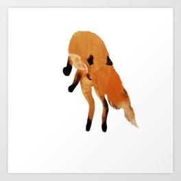 Jumping fox - white background  Art Print