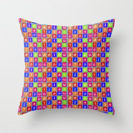 Numbers and Vowels Colorful Pattern Throw Pillow