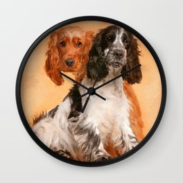 English Cocker Spaniel Dog Digital Art Wall Clock