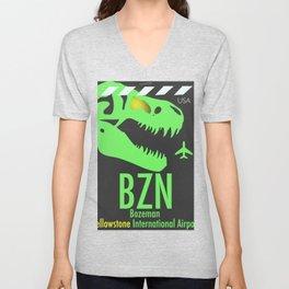 BZN Bozeman Yellowstone airport code Unisex V-Neck