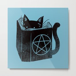 WITCHCRAFT CAT (Blue) Metal Print