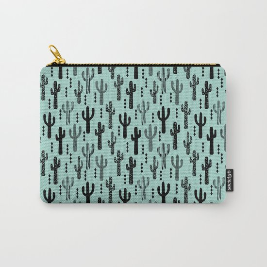 Cactus pattern print mint black minimal geometric modern illustration desert southwest nature Carry-All Pouch