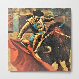 Plaza de Toros de Pamplona, Spanish Bull Fighting portrait painting Metal Print