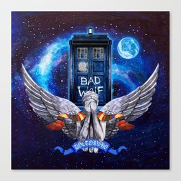 The Angel with Tardis Canvas Print
