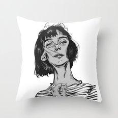 Woman in stripped shirt Throw Pillow