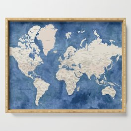 Light brown and blue watercolor detailed world map Serving Tray