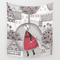 jazzberry Wall Tapestries featuring The Old Village by Judith Clay