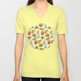 Rainbow Fast Food Unisex V-Neck