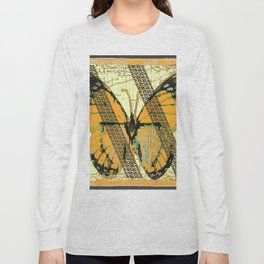 ROADKILL MONARCH BUTTERFLY  & TIRE TRACKS ART Long Sleeve T-shirt