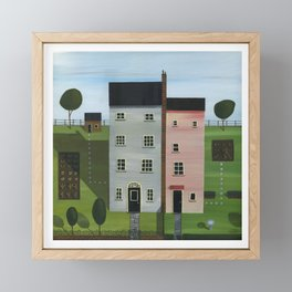 Grey House, Pink House & A Wall In Common. Framed Mini Art Print