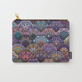 Vintage patchwork with floral mandala elements Carry-All Pouch