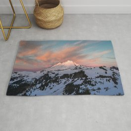 Mount Baker Mountain Adventure Sunset - Nature Photography Rug
