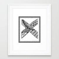 xmen Framed Art Prints featuring Zentangle X Monogram Alphabet Illustration by Vermont Greetings