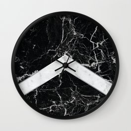 Arrows - Black Granite & White Marble #992 Wall Clock