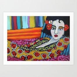 Serena with Stripes Art Print