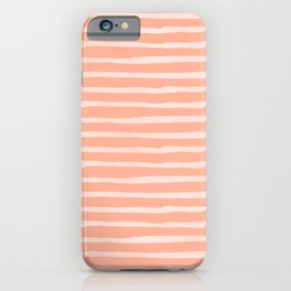 Sweet Life Thin Stripes Peach Coral Pink iPhone Case