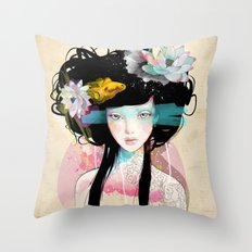 Nenufar Girl Throw Pillow