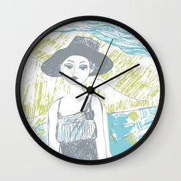 Woman on the beach 2 Wall Clock
