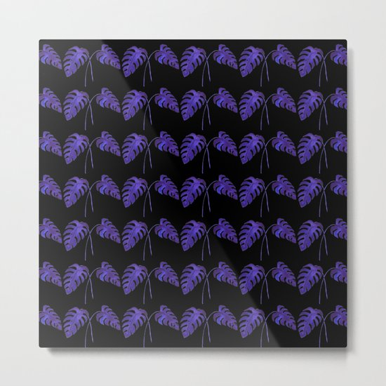 Indigo Monstera Leaf Watercolor on Black Metal Print