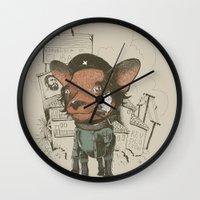 che Wall Clocks featuring Che huahua by Clinton Jacobs