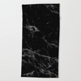 Black Marble Beach Towel