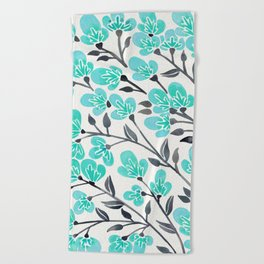 Cherry Blossoms – Turquoise & Black Palette Beach Towel
