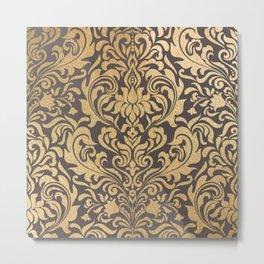 Gold swirls damask #9 Metal Print