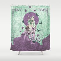 lady Shower Curtains featuring Lady Butterfly by Paula Belle Flores