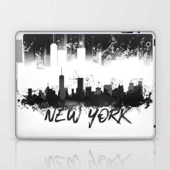 Graphic Art NYC Skyline Splashes | black Laptop & iPad Skin