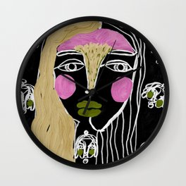 Linework, Faces and eyes, Ghots surrounding, Original by Nina Sencar Wall Clock