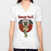 pugs V-neck T-shirts featuring Motley Pugs by Dark Lord Pug