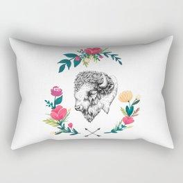 Floral Bison Rectangular Pillow